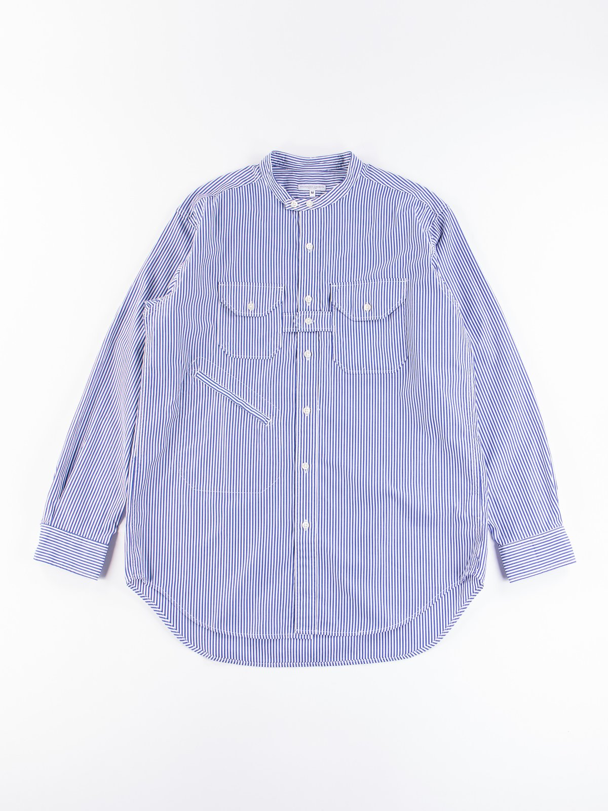 Blue/White Candy Stripe Broadcloth Banded Collar Shirt - Image 1