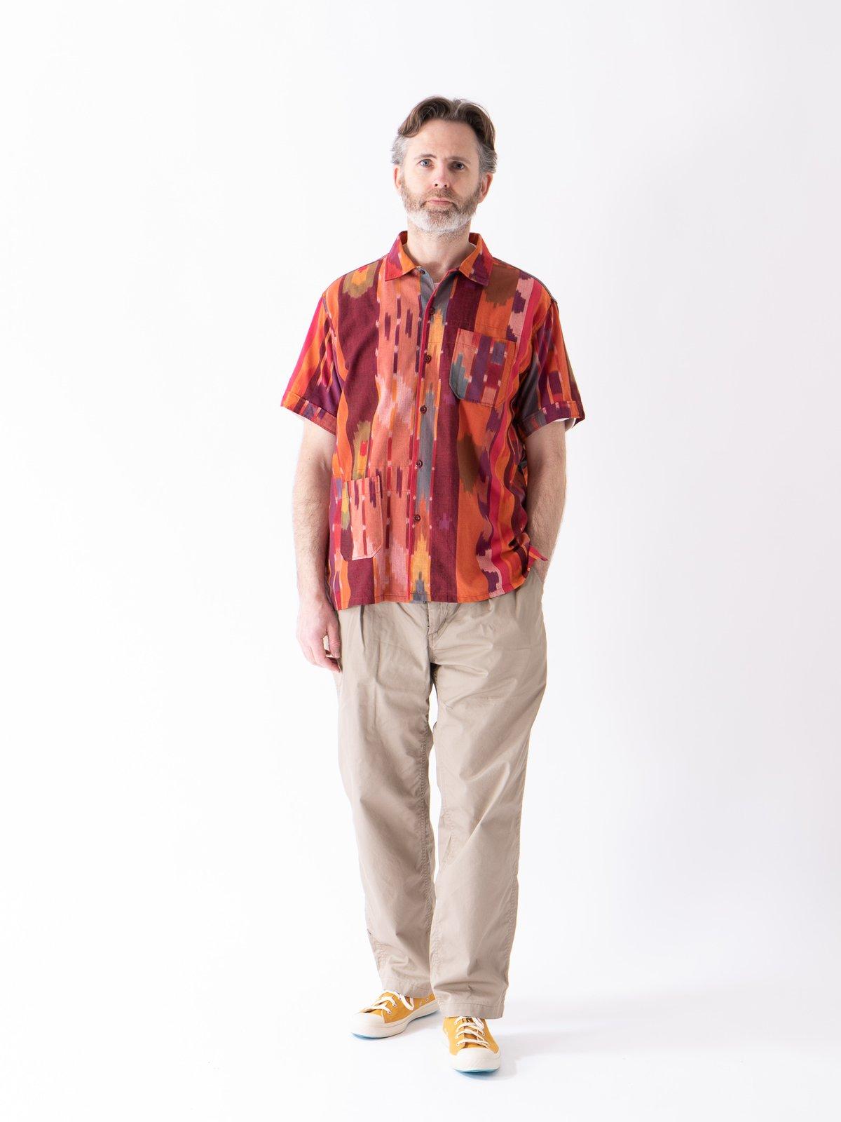 Red/Orange Cotton Ikat Camp Shirt - Image 2