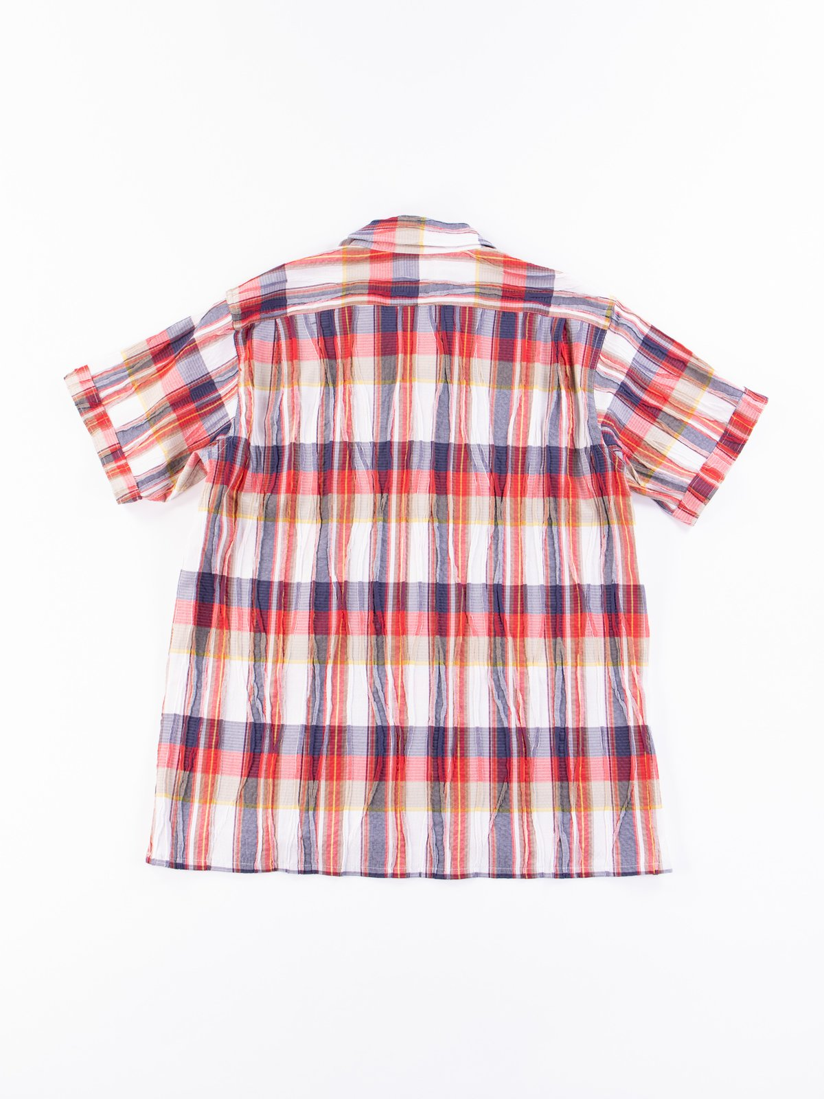 Red/White Cotton Crepe Check Camp Shirt - Image 6