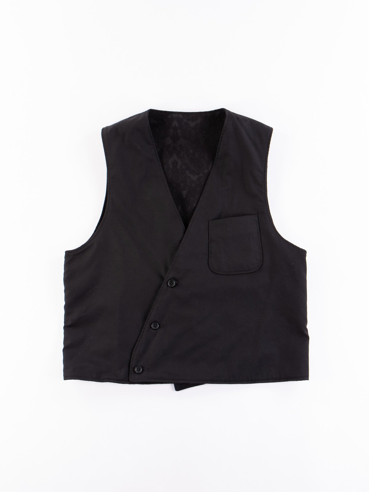 Black Worsted Wool Gabardine Reversible Vest - Image 1