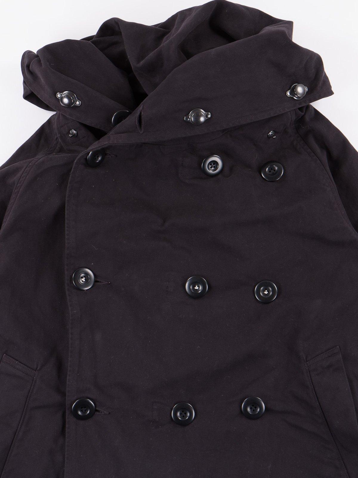 Black Brushed Twill Tri–P Ring Coat - Image 2