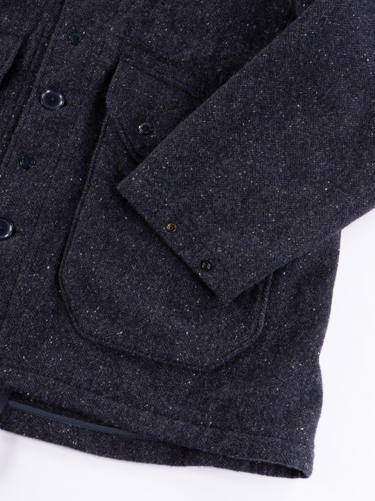 Navy Herringbone Donegal Wool Tweed Madison Parka - Image 6