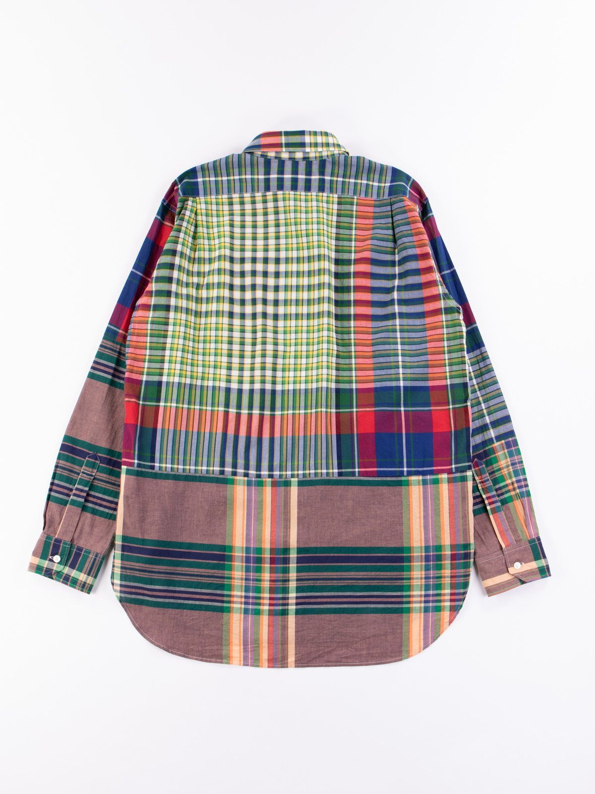 Red/Blue/Green Big Madras Plaid Spread Collar Shirt - Image 5