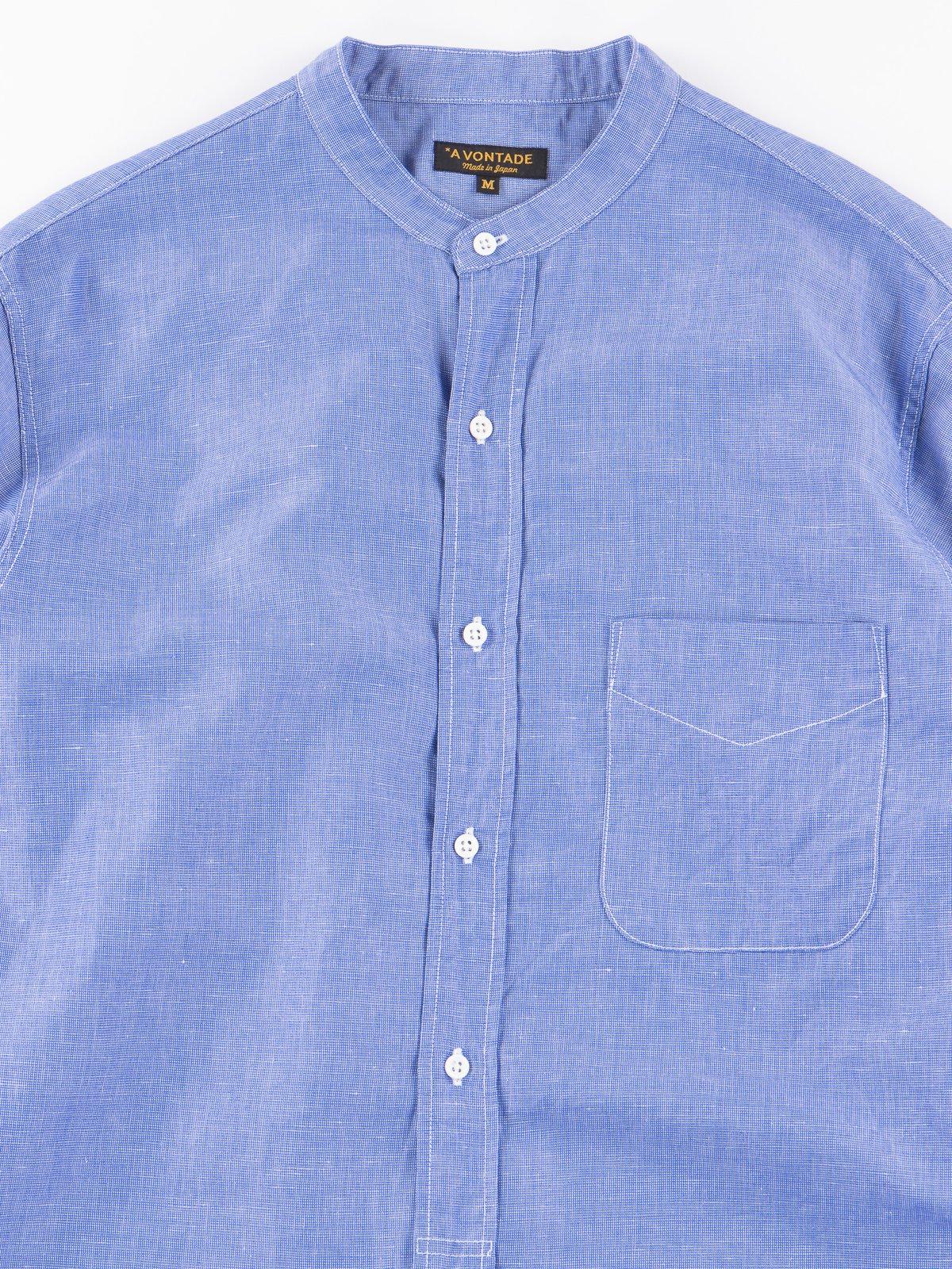 Blue End on End Banded Collar Shirt - Image 2