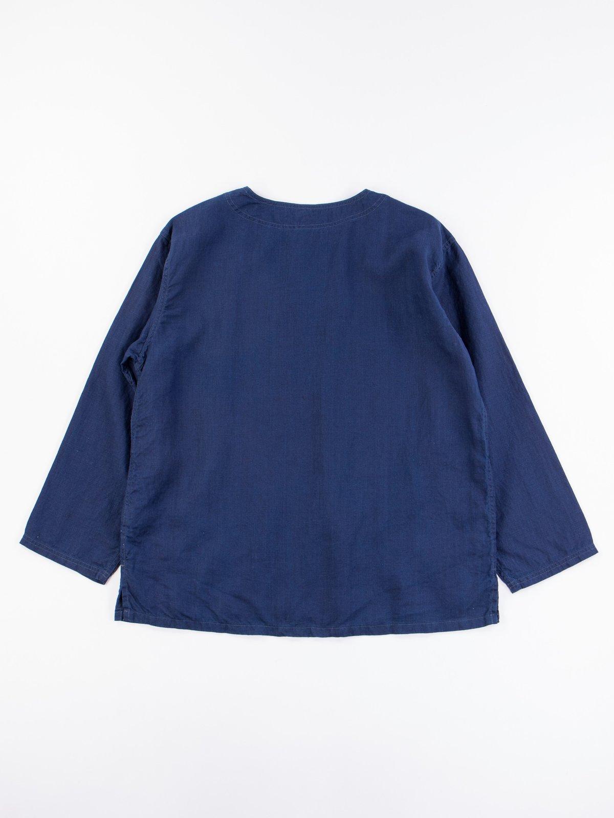 Indigo Linen Pullover Shirt - Image 5