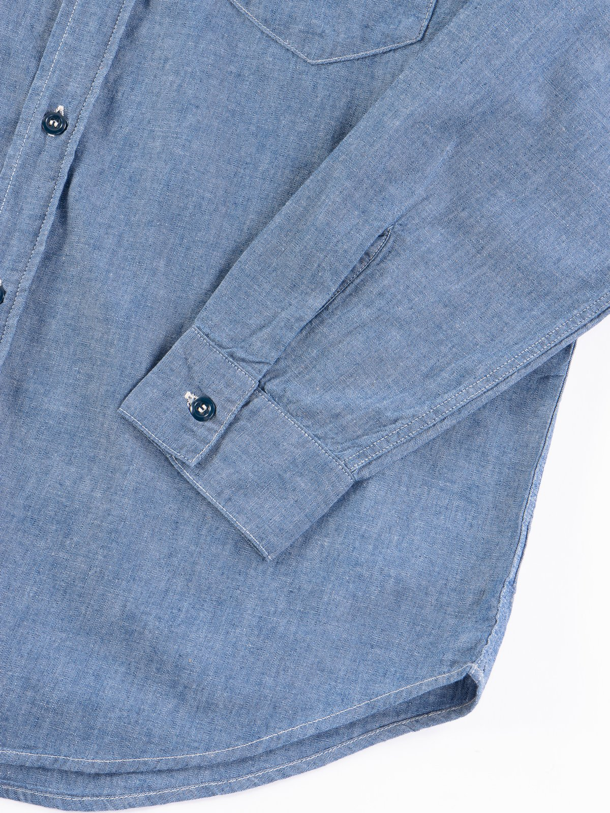 Blue Chambray Vintage Fit Work Shirt - Image 4