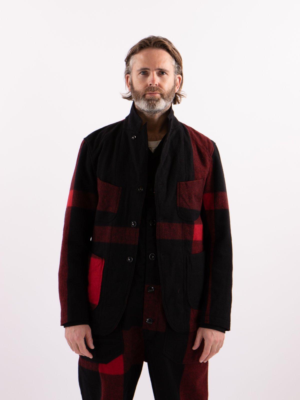 Black Big Plaid Wool Melton RE Bedford Jacket - Image 2