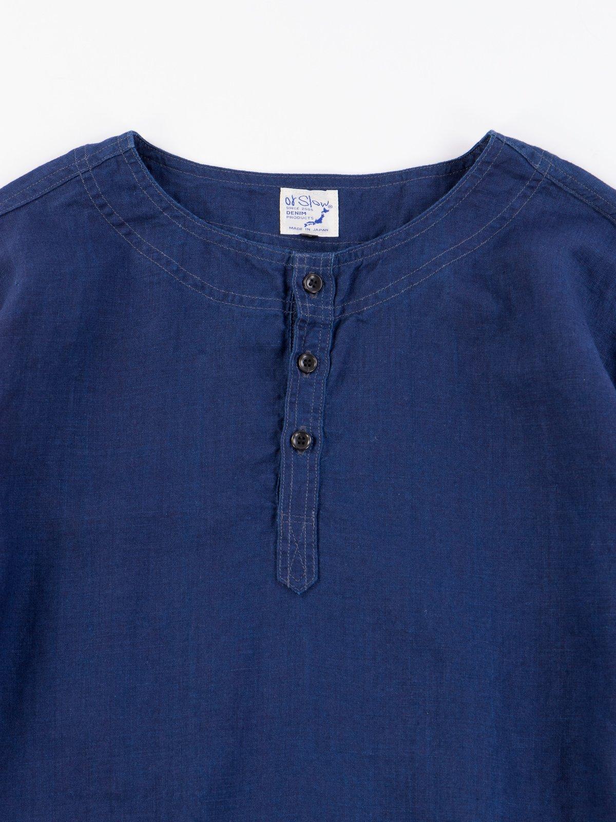 Indigo Linen Pullover Shirt - Image 3