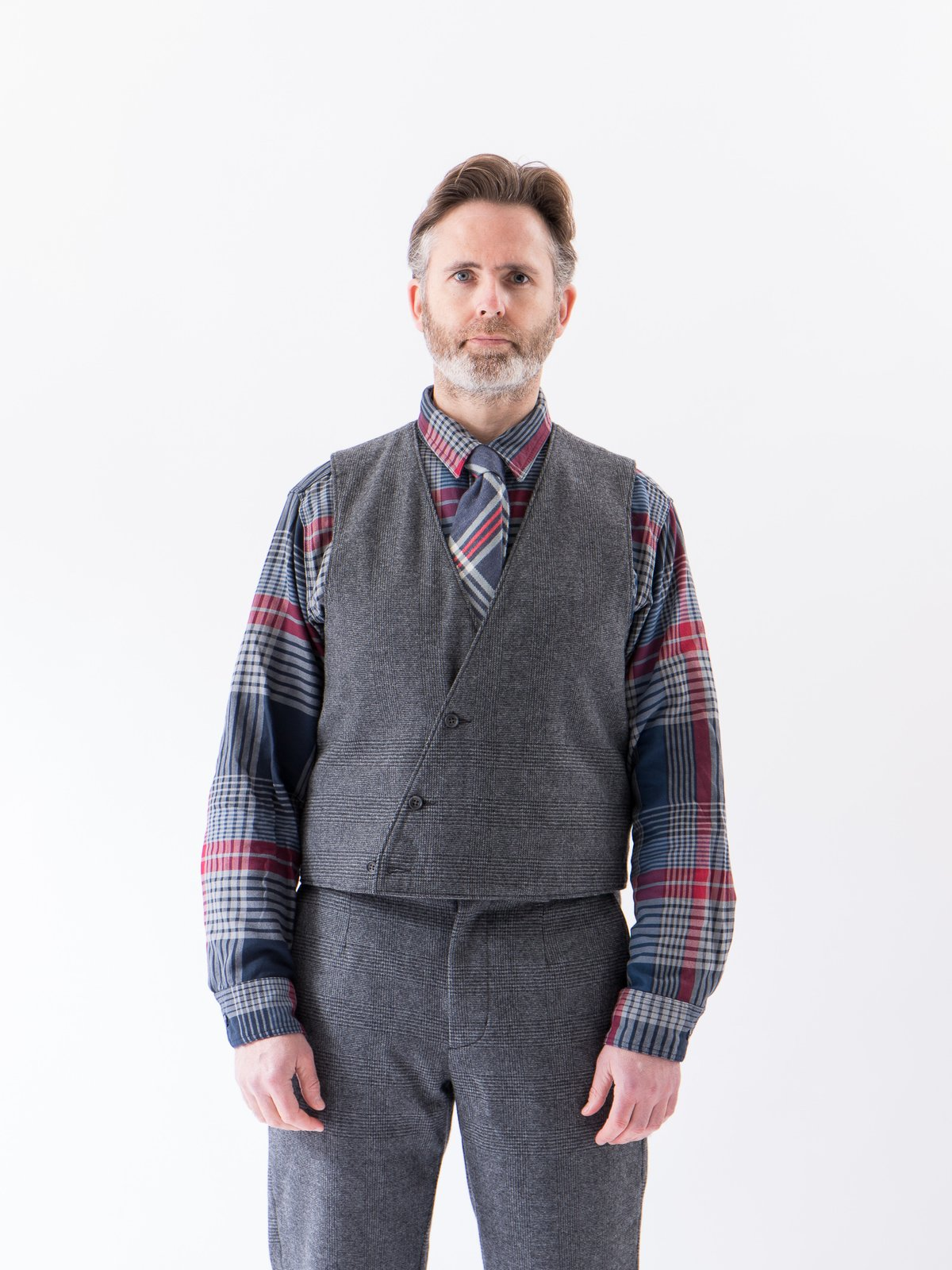 Charcoal Worsted Wool Gabardine Reversible Vest - Image 2