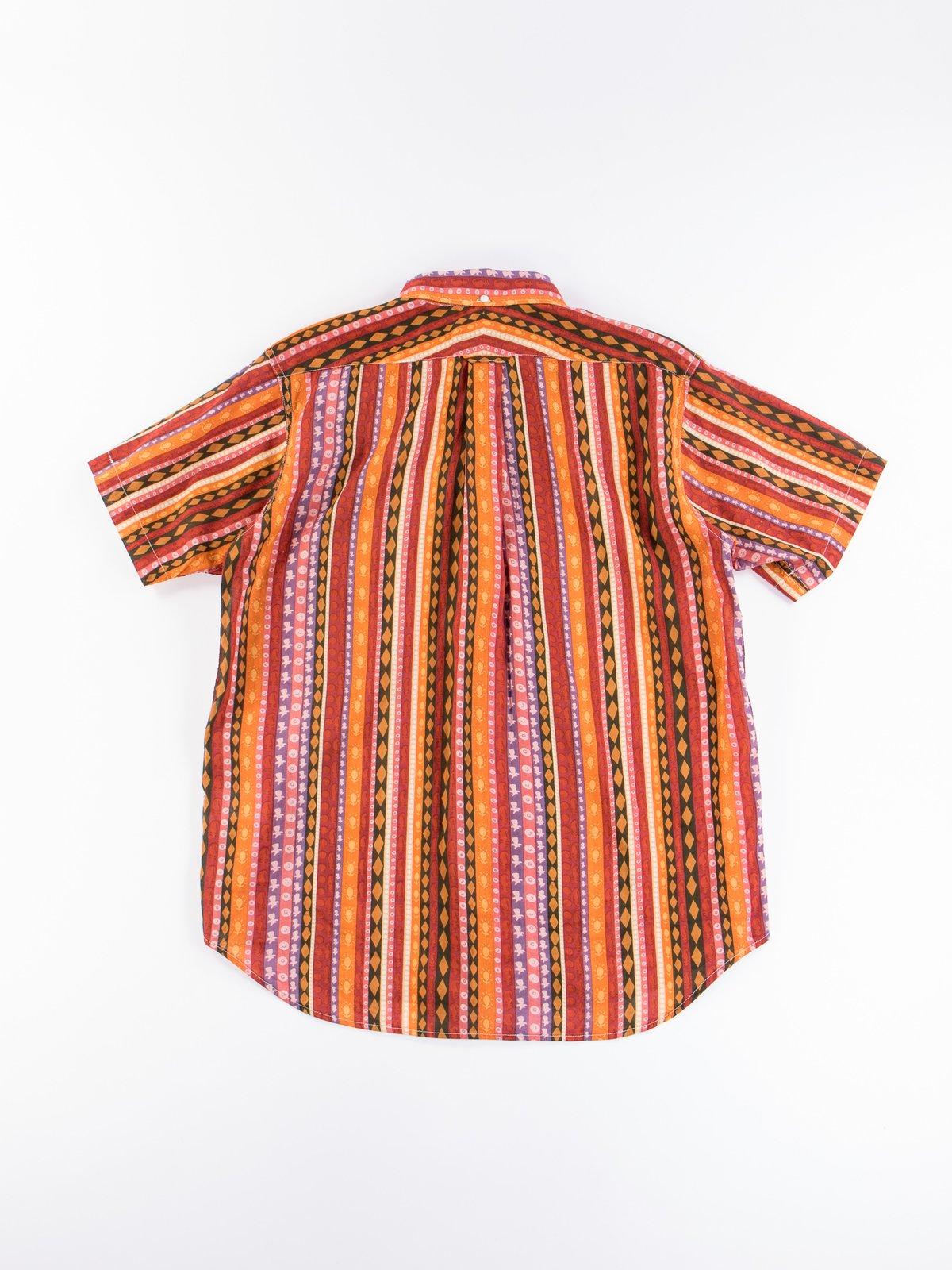 Orange Cotton Lawn Batik Stripe Popover BD Shirt - Image 4