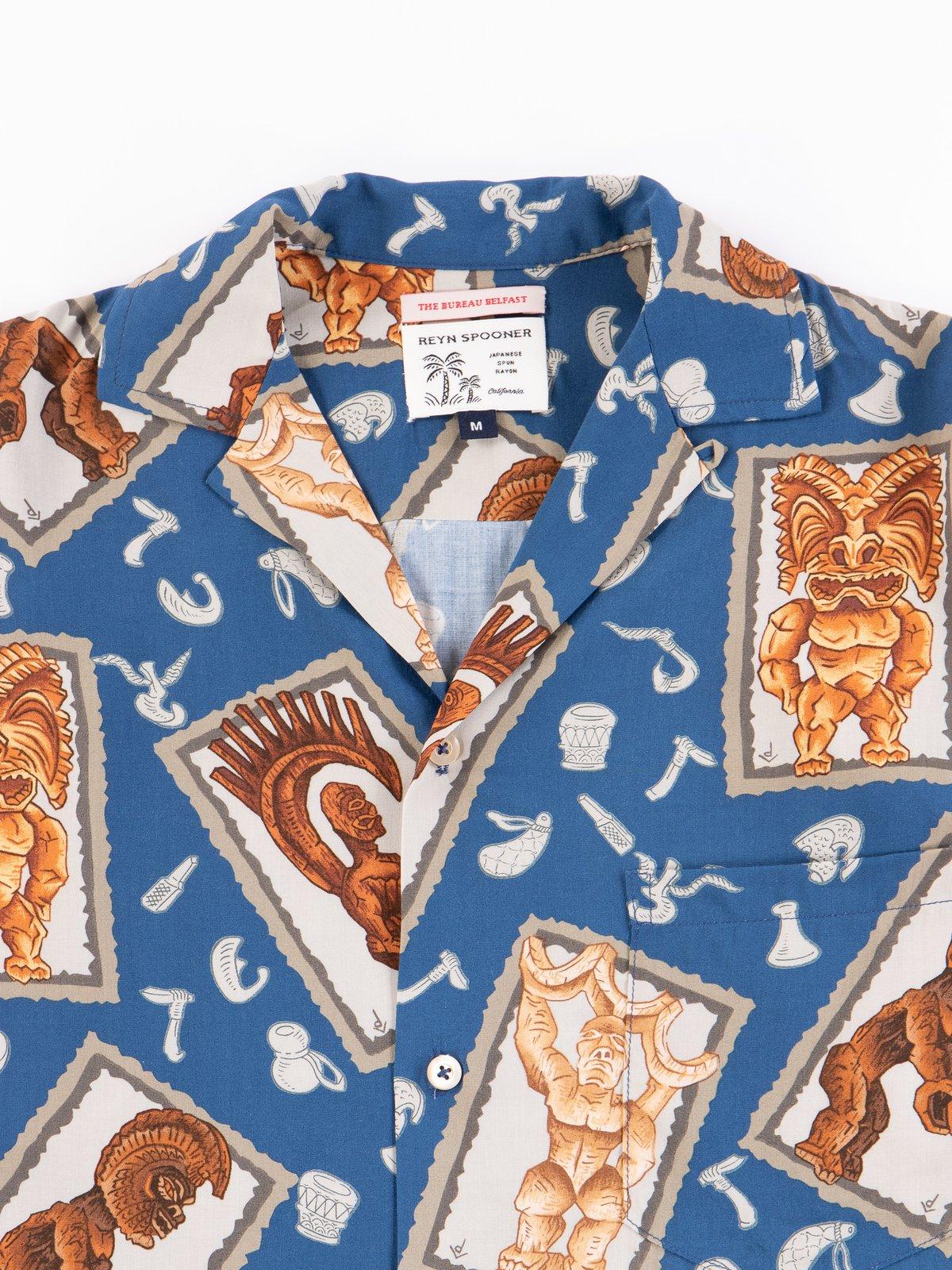 Navy Hawaiian Tikis Rayon Camp Shirt - Image 3