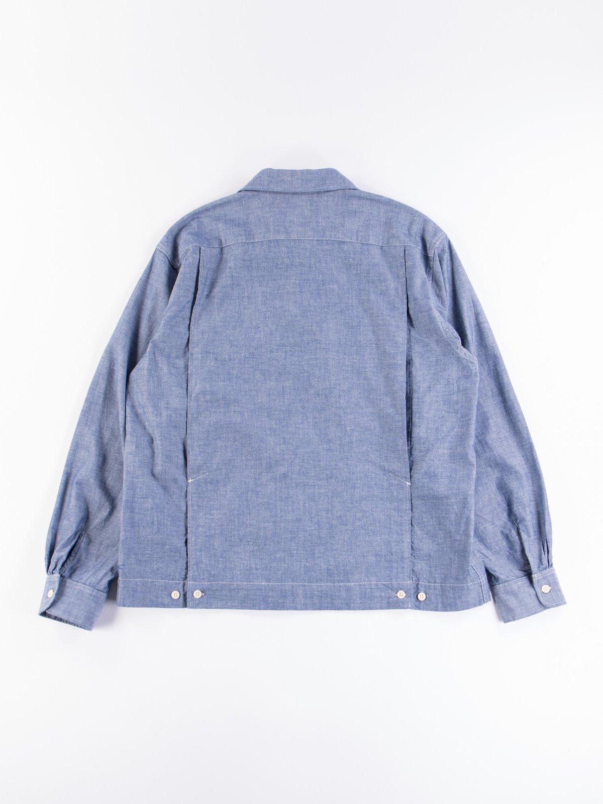 Blue Cotton Chambray Bowling Shirt - Image 6