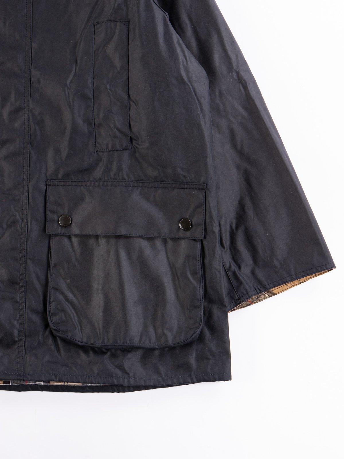 Navy Oversized Beaufort Waxed Cotton Jacket - Image 3