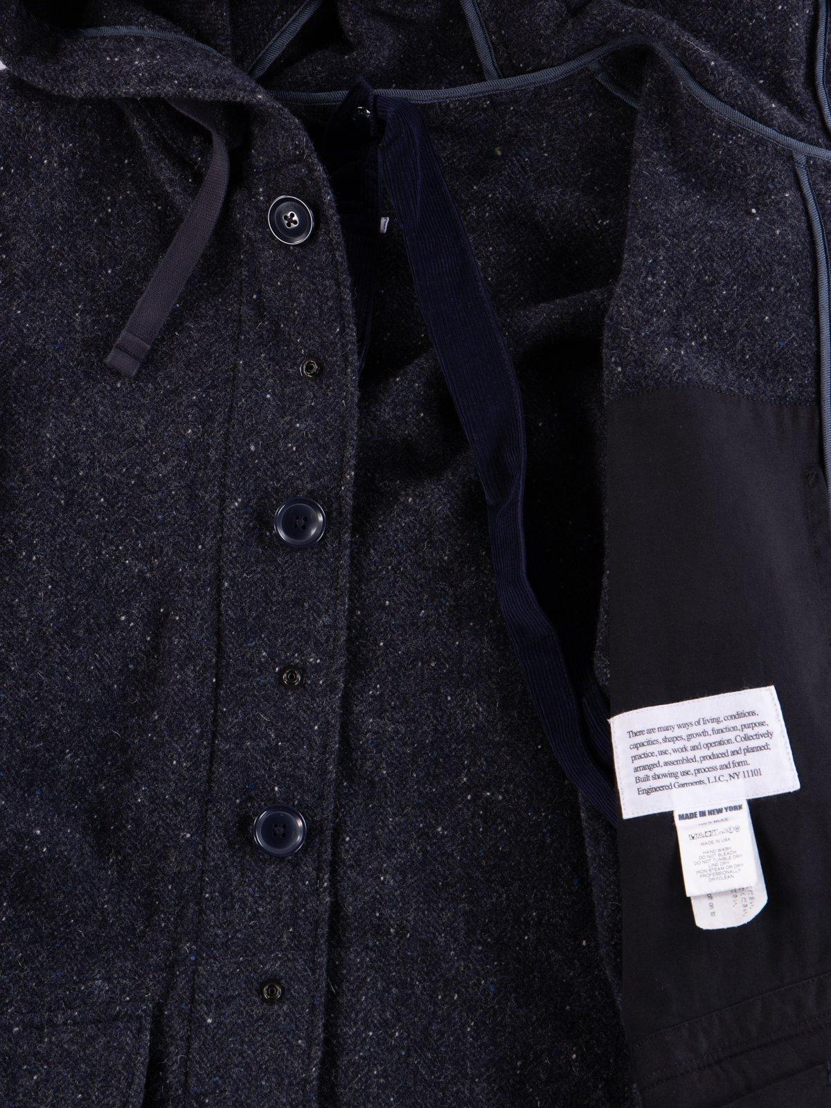 Navy Herringbone Donegal Wool Tweed Madison Parka - Image 9