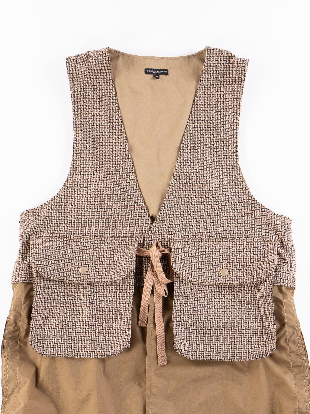 Brown Wool Poly Gunclub Check Long Fowl Vest - Image 3