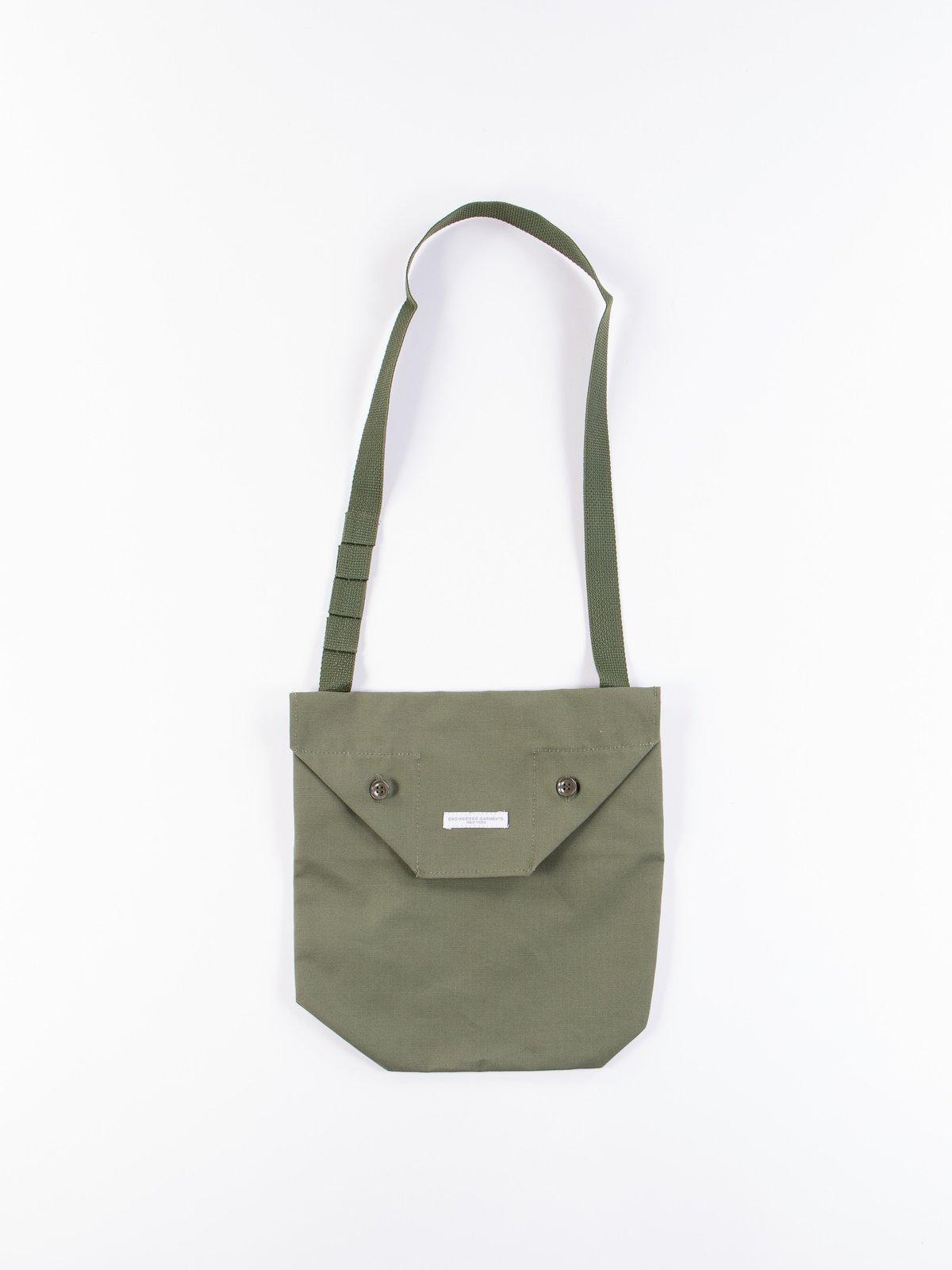 Olive Cotton Ripstop Shoulder Pouch - Image 1