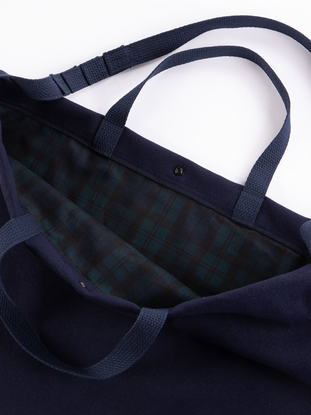 Navy Polyester Fake Melton Carry All Tote - Image 3