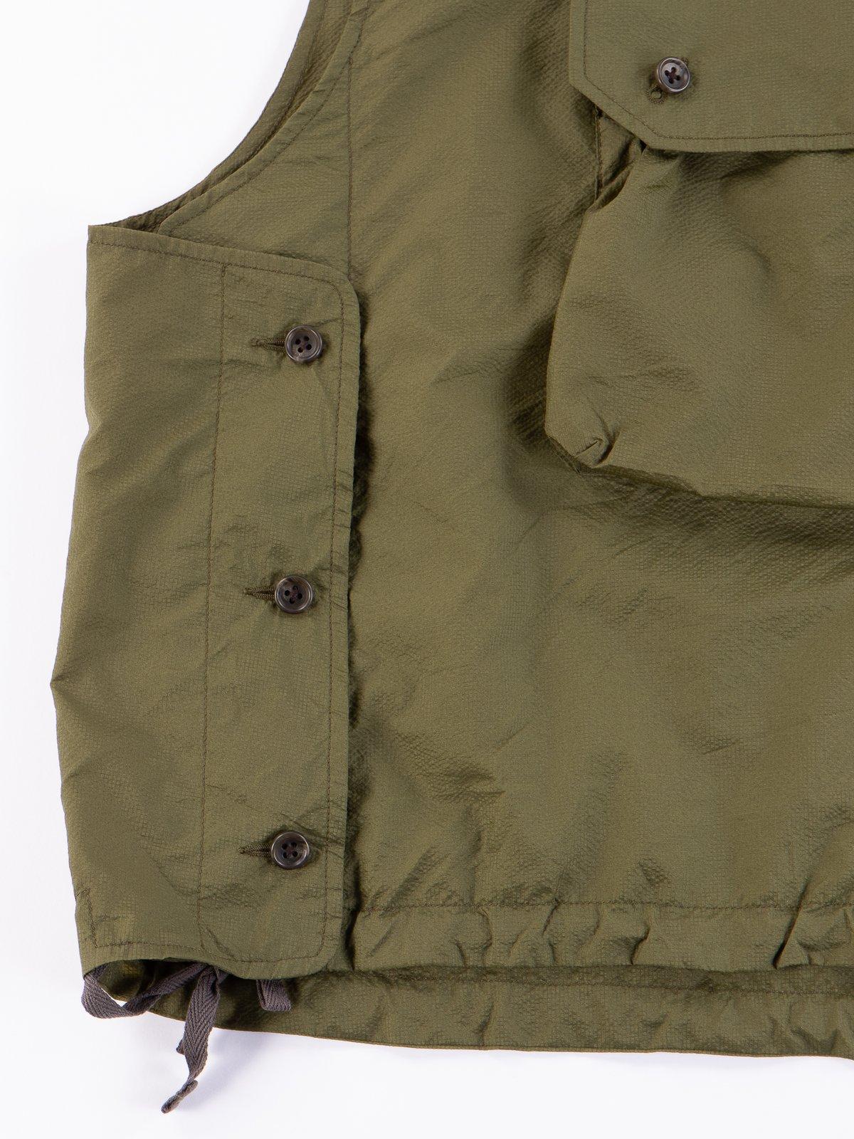 Olive Nylon Micro Ripstop Cover Vest - Image 4
