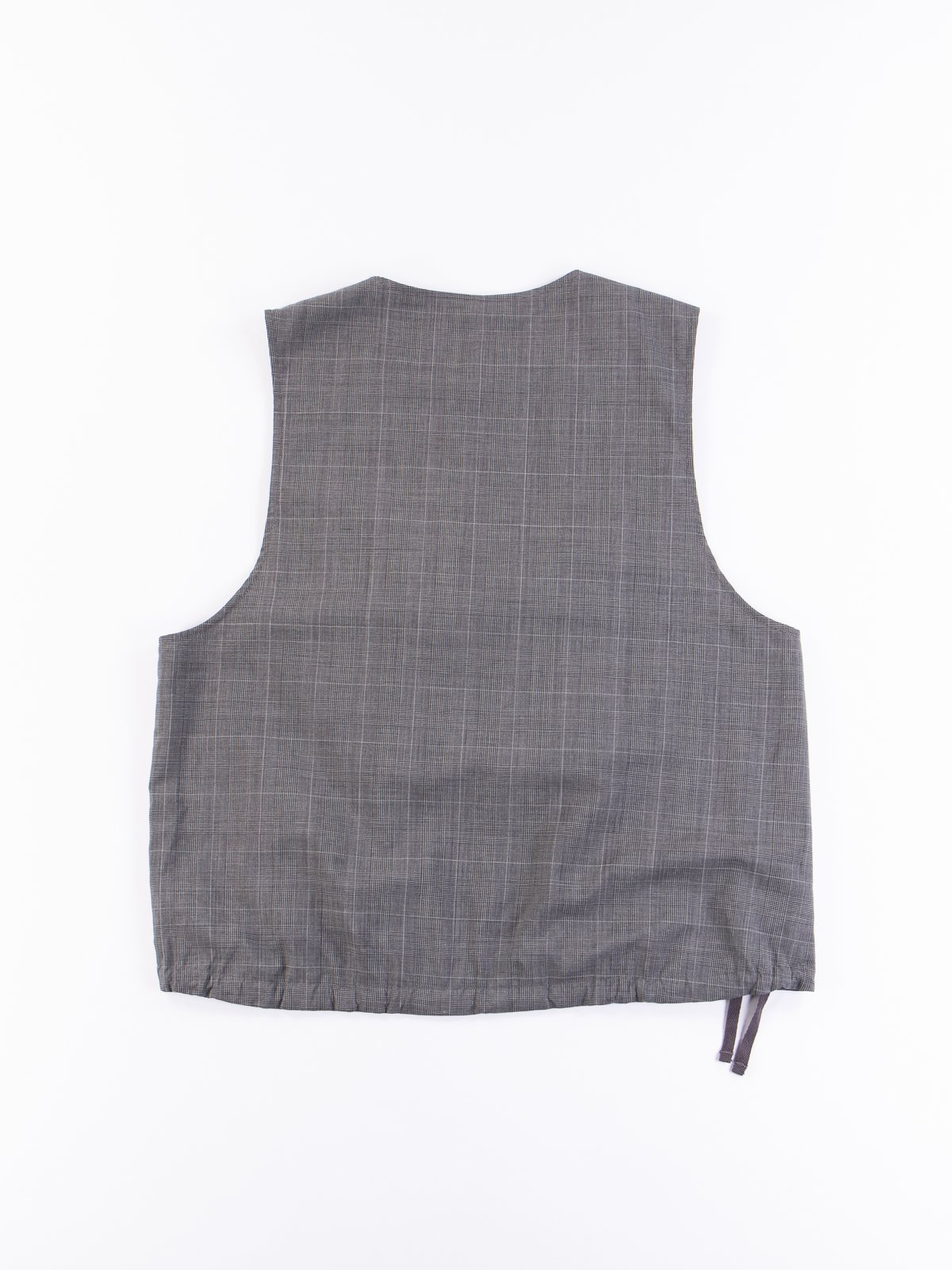 Grey Glen Plaid Tropical Wool Cover Vest - Image 5