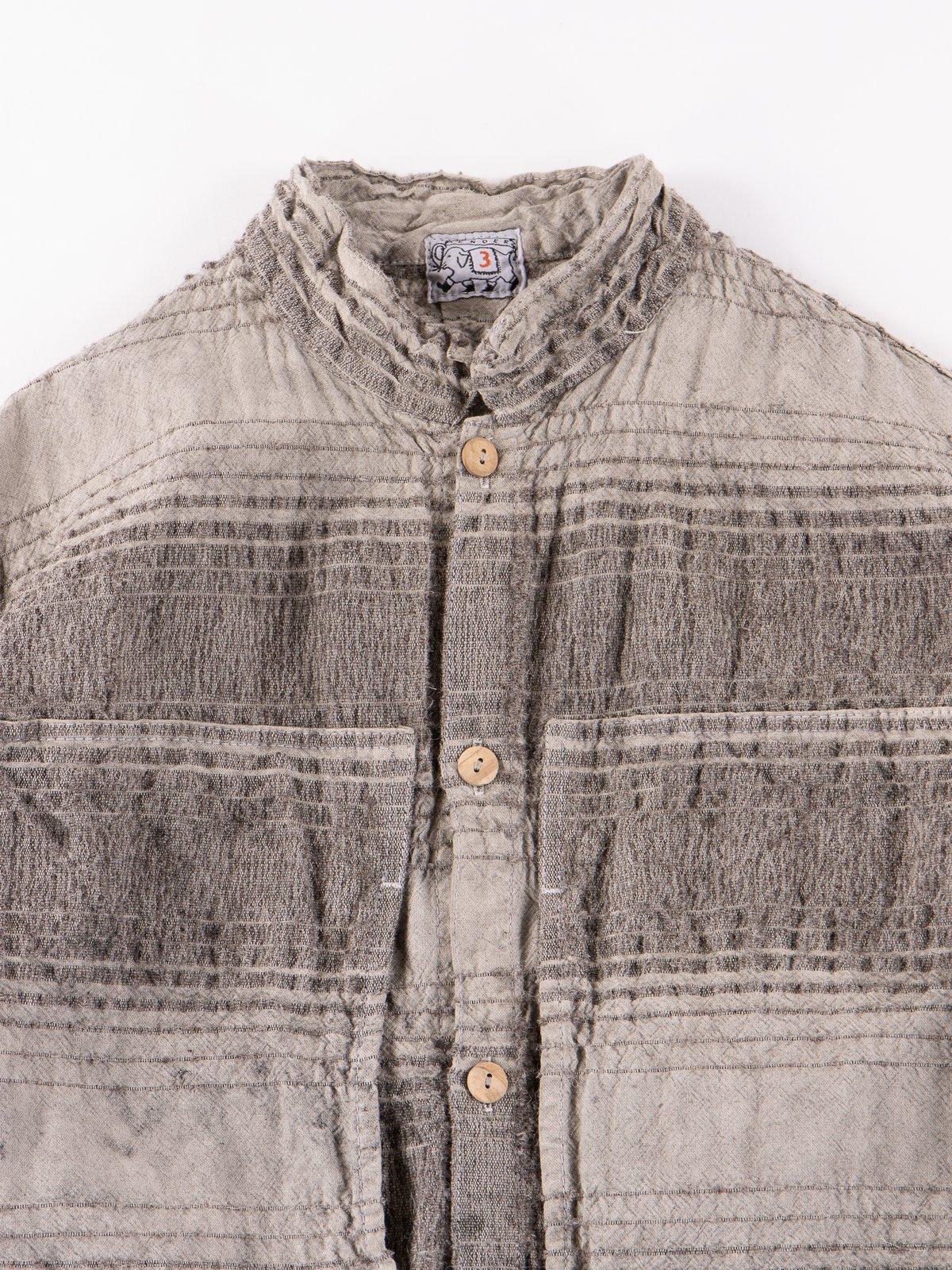 Indian Black Dye Doppler Stripe Calico Periscope Pocket Tail Shirt - Image 3