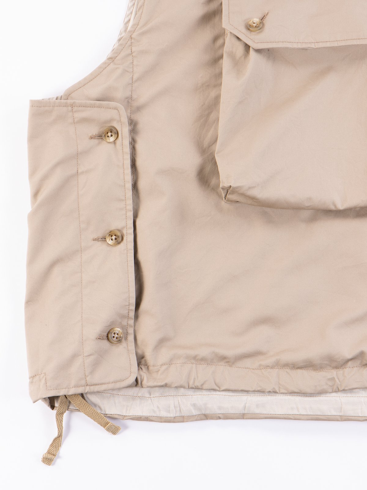 Khaki High Count Twill Cover Vest - Image 4