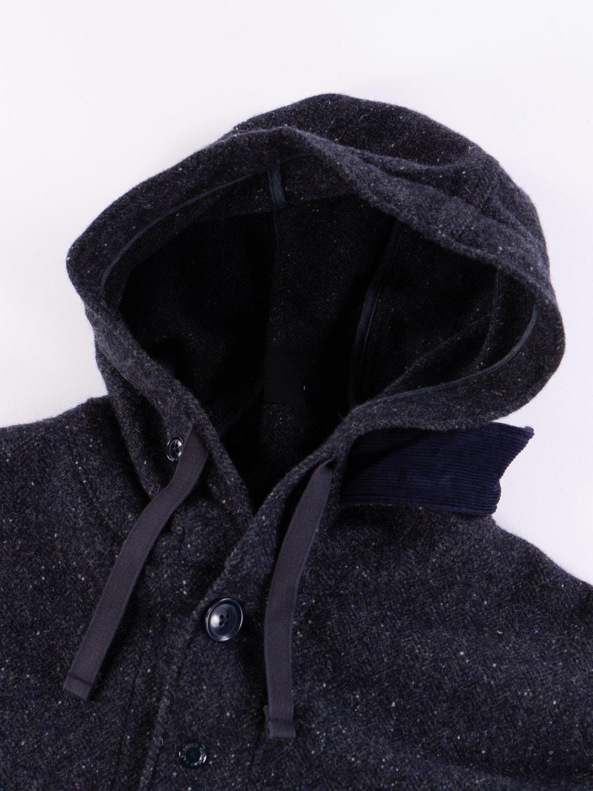 Navy Herringbone Donegal Wool Tweed Madison Parka - Image 7