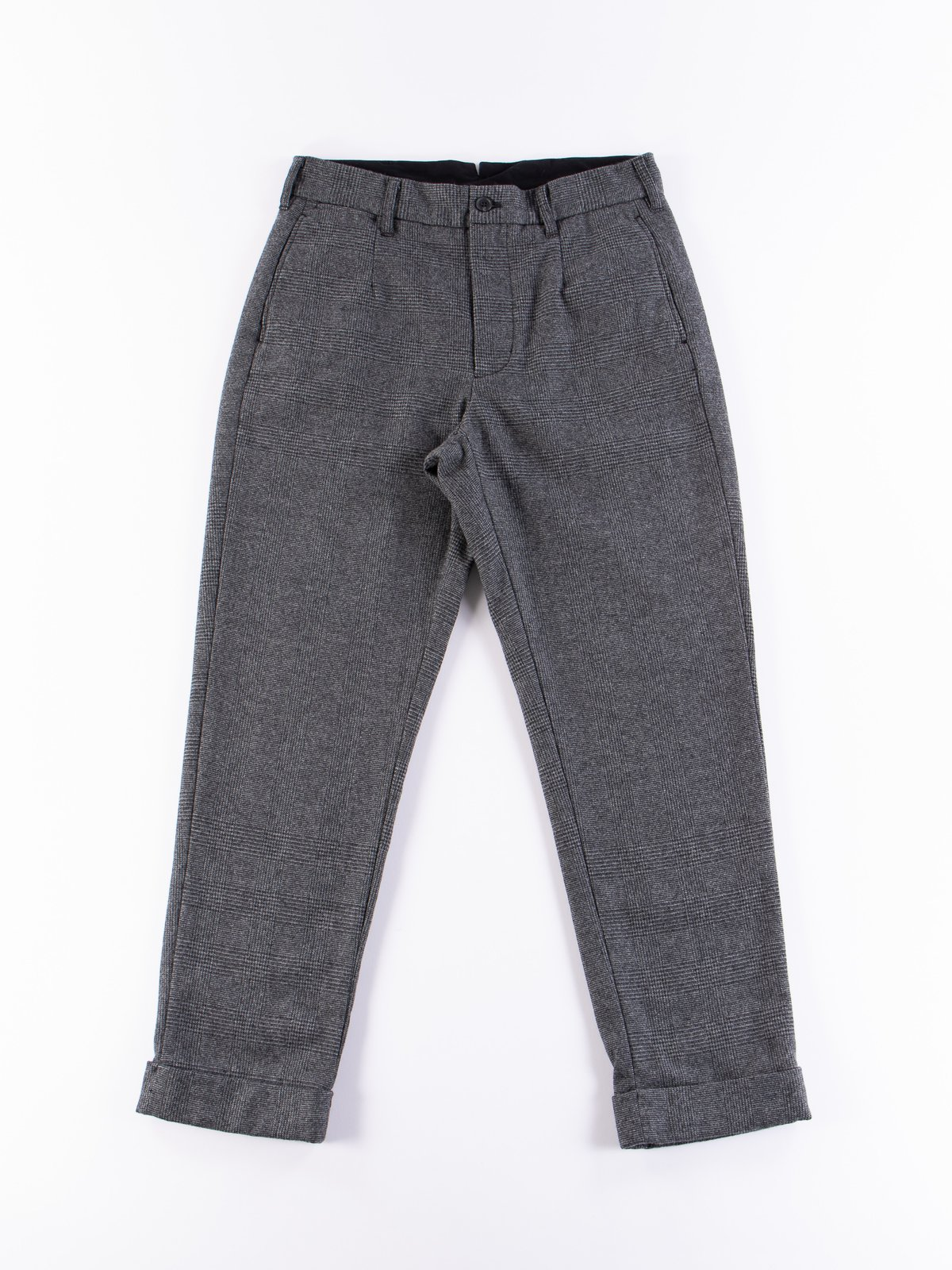Grey Wool Glen Plaid Stripe Andover Pant - Image 1