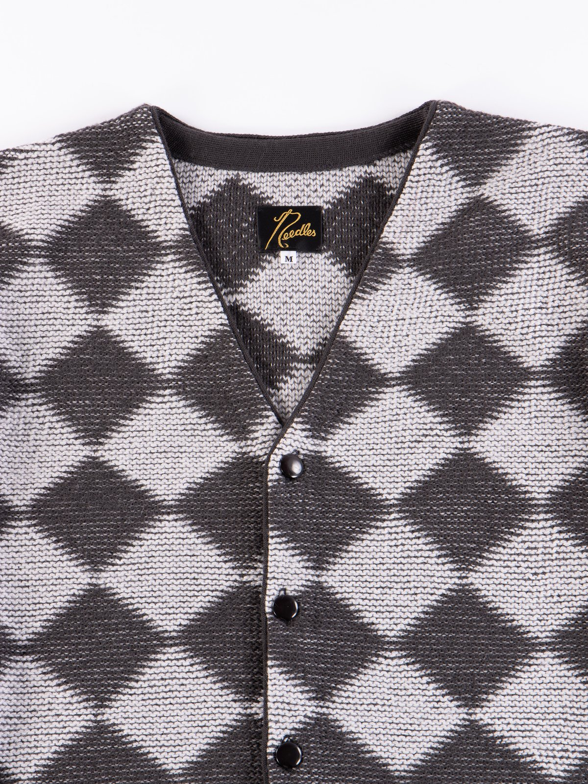 Charcoal Checkered V Neck Cardigan - Image 3