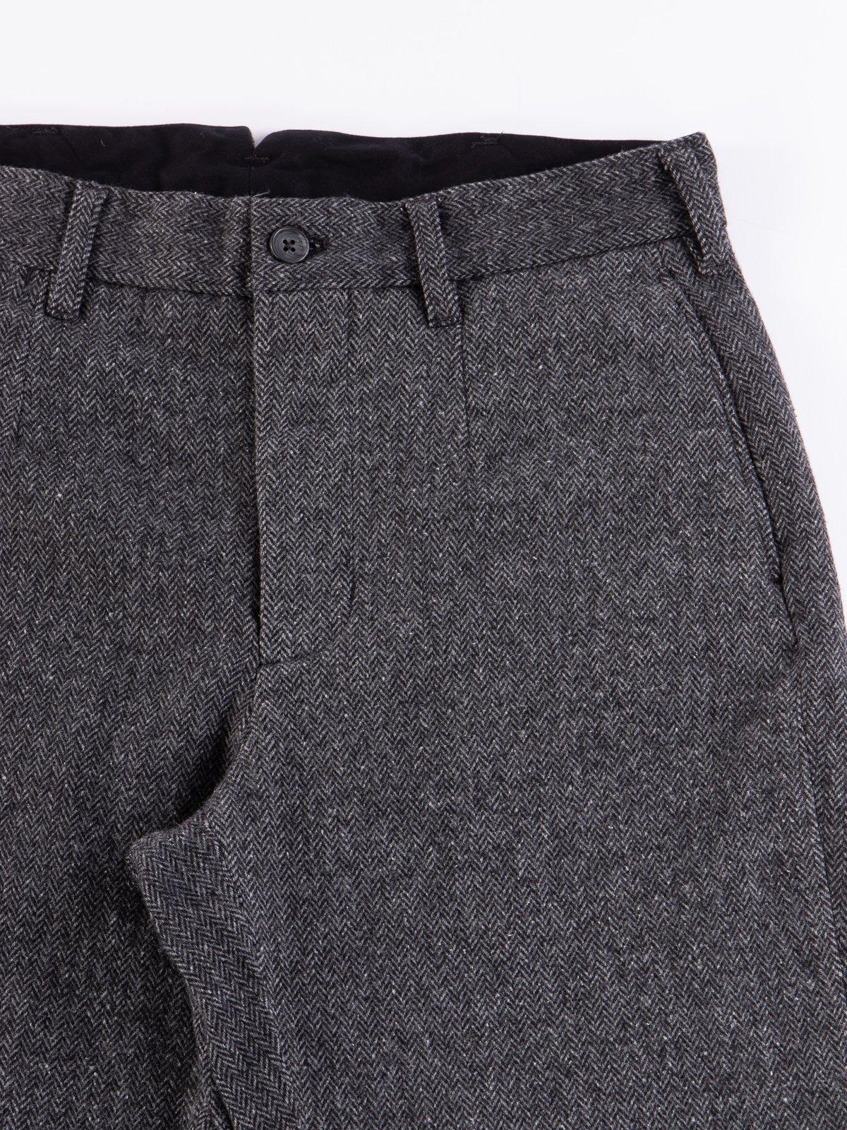 Grey Poly Wool Herringbone Andover Pant - Image 4
