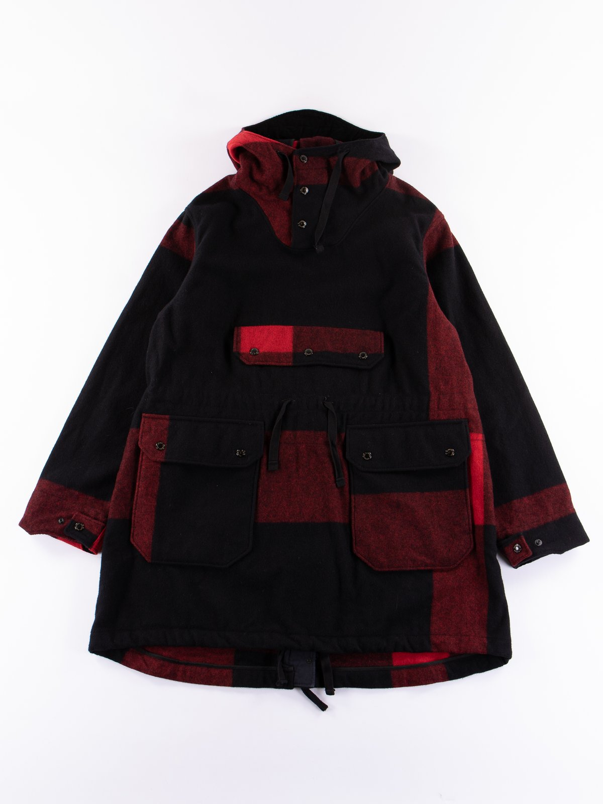 Black Big Plaid Wool Melton Over Parka - Image 1