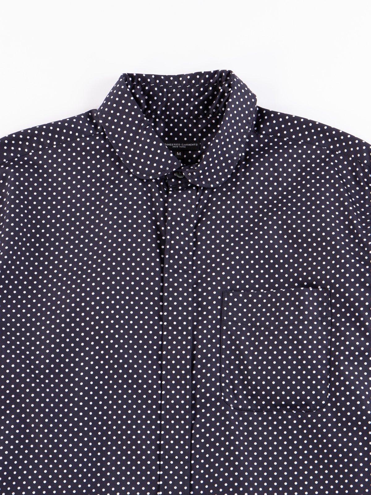 Navy Cotton Big Polka Dot Broadcloth Rounded Collar Shirt - Image 3