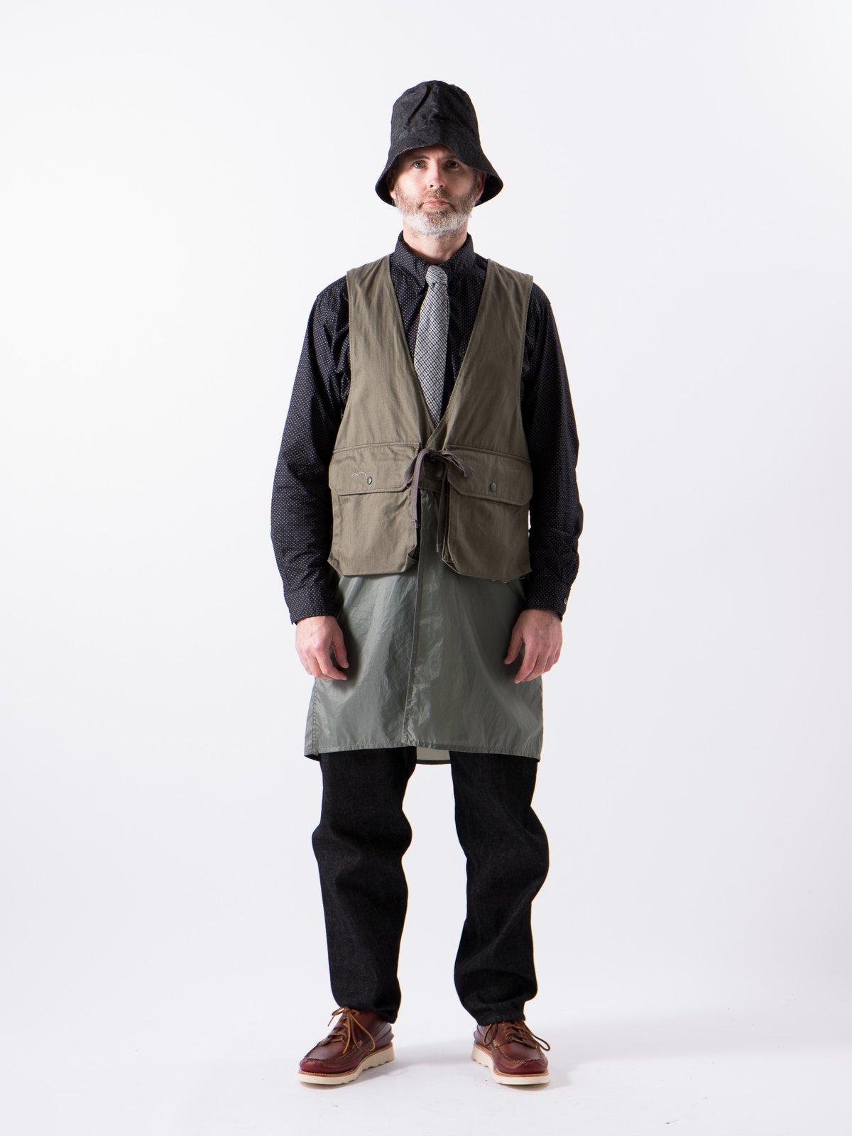 Olive Cotton Herringbone Twill Long Fowl Vest - Image 2