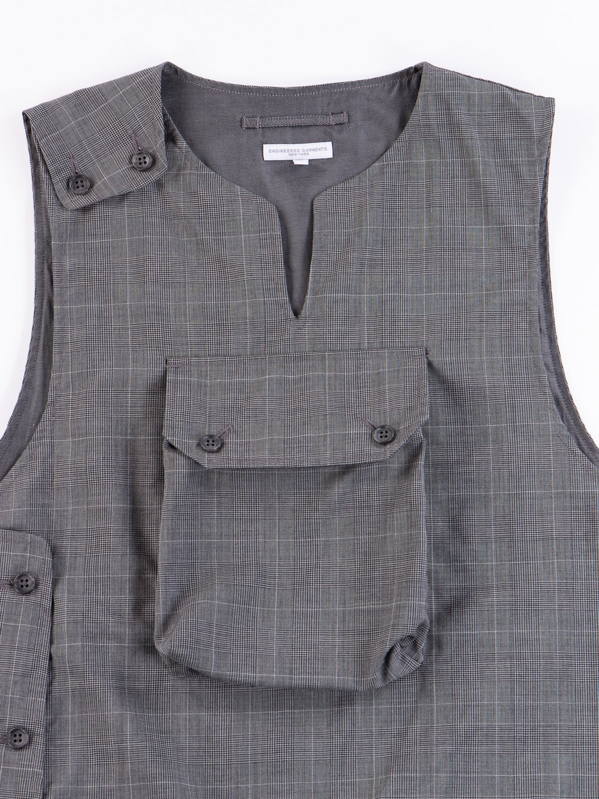 Grey Glen Plaid Tropical Wool Cover Vest - Image 3