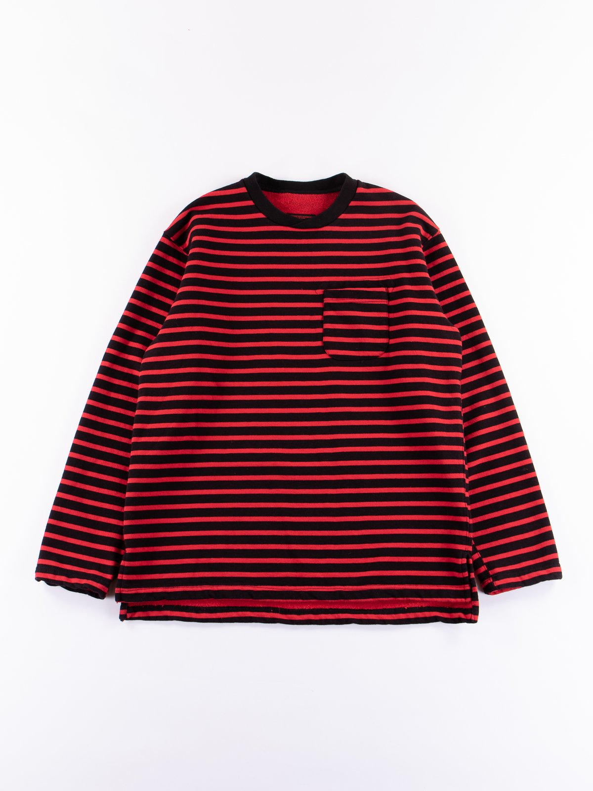 Black/Red Stripe 20oz French Terry Long Sleeve Crew Neck - Image 1