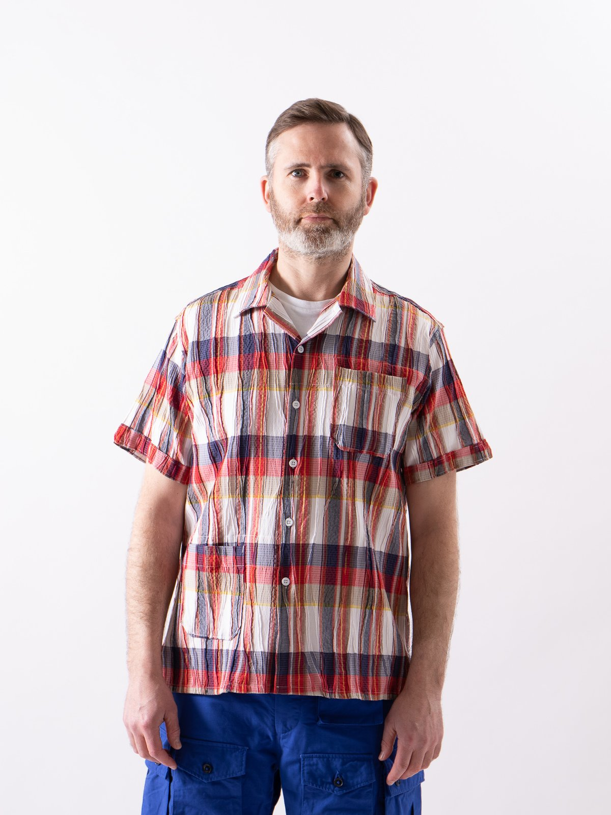 Red/White Cotton Crepe Check Camp Shirt - Image 2
