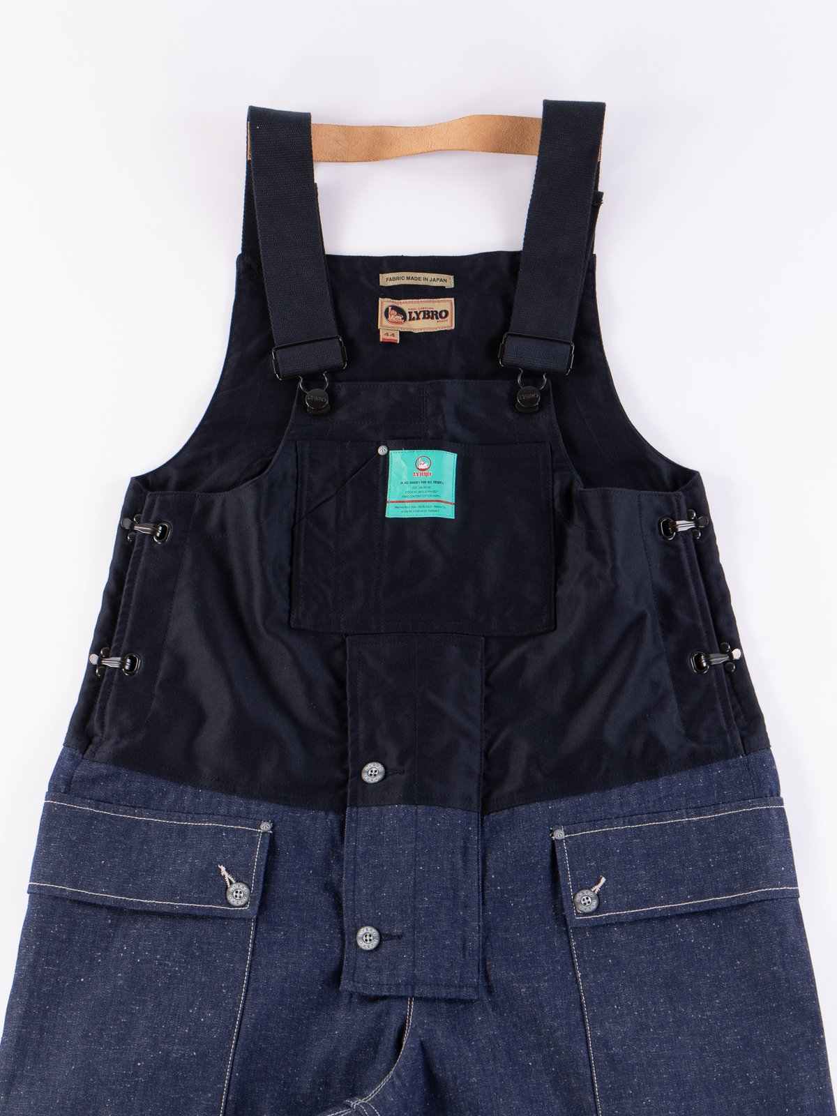 Lybro Split Denim/Navy Sateen Naval Dungaree - Image 3