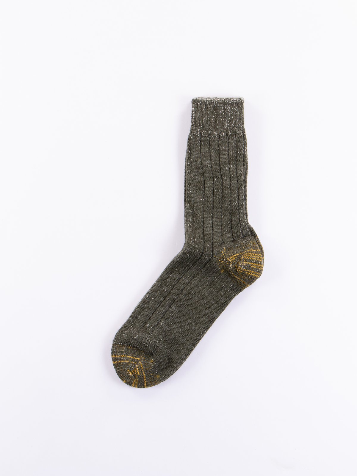 Army/Natural S72 New Wool Sock - Image 1