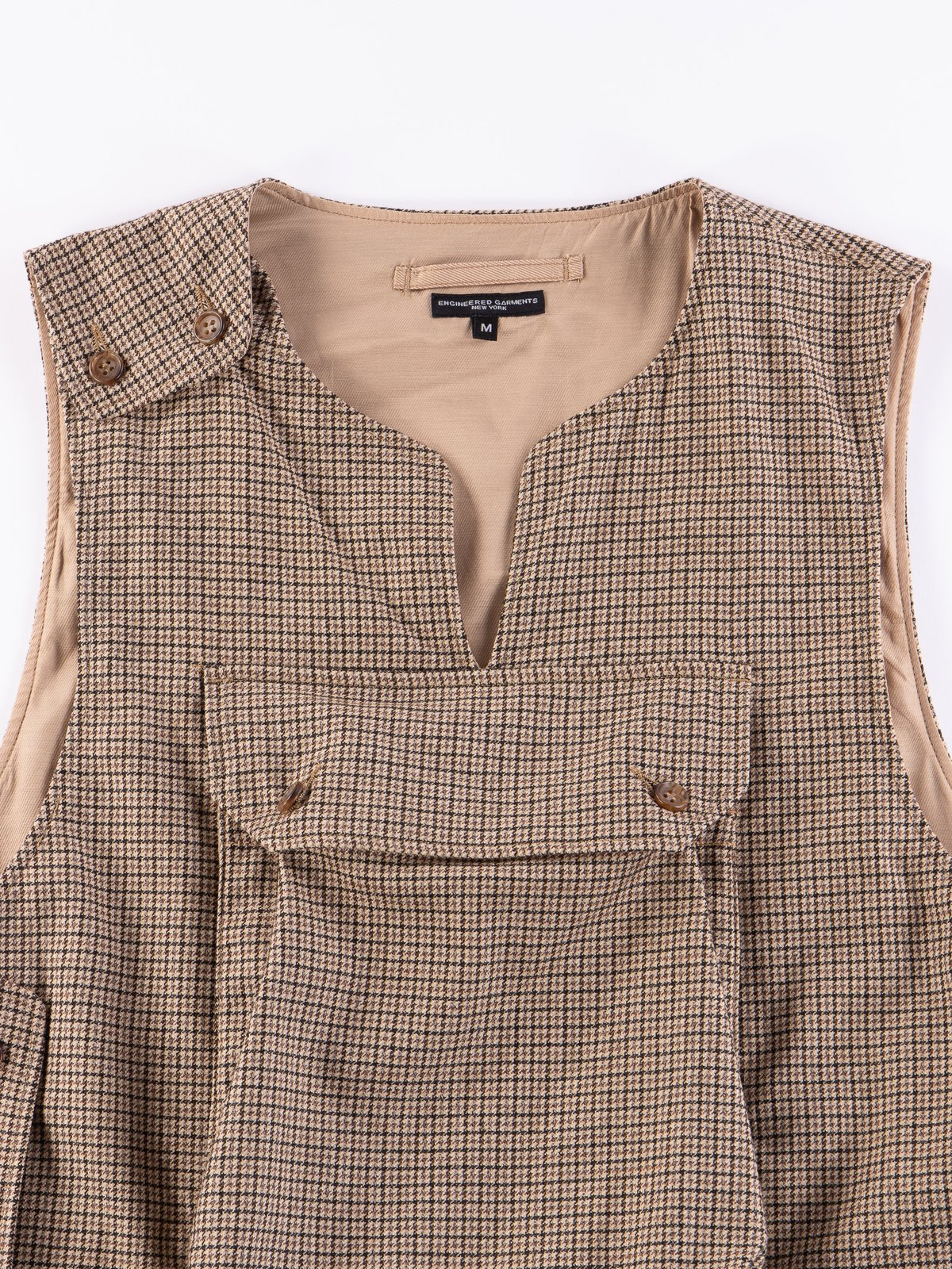 Brown Wool Poly Gunclub Check Cover Vest - Image 3
