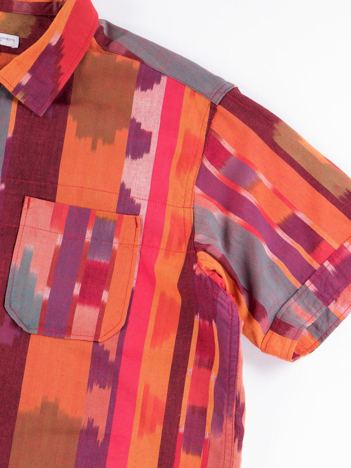 Red/Orange Cotton Ikat Camp Shirt - Image 4