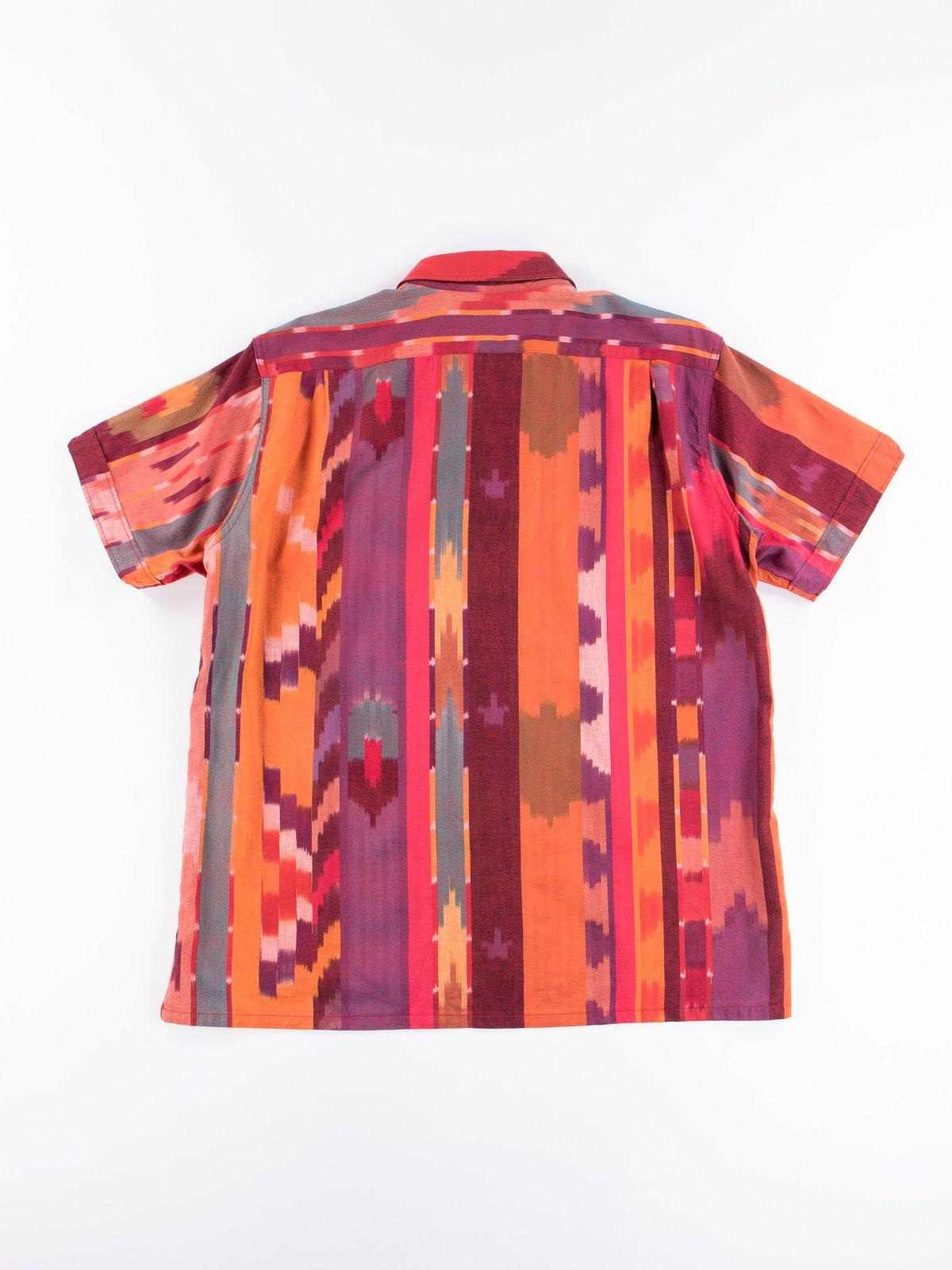Red/Orange Cotton Ikat Camp Shirt - Image 5