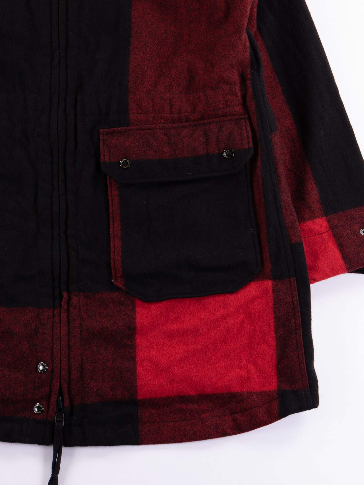 Black Big Plaid Wool Melton Over Parka - Image 6