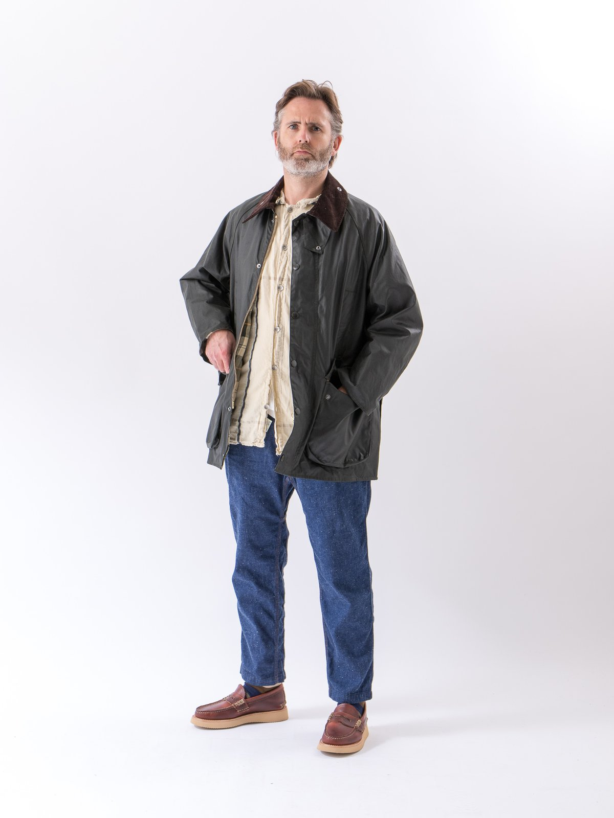 Sage Oversized Beaufort Waxed Cotton Jacket - Image 3
