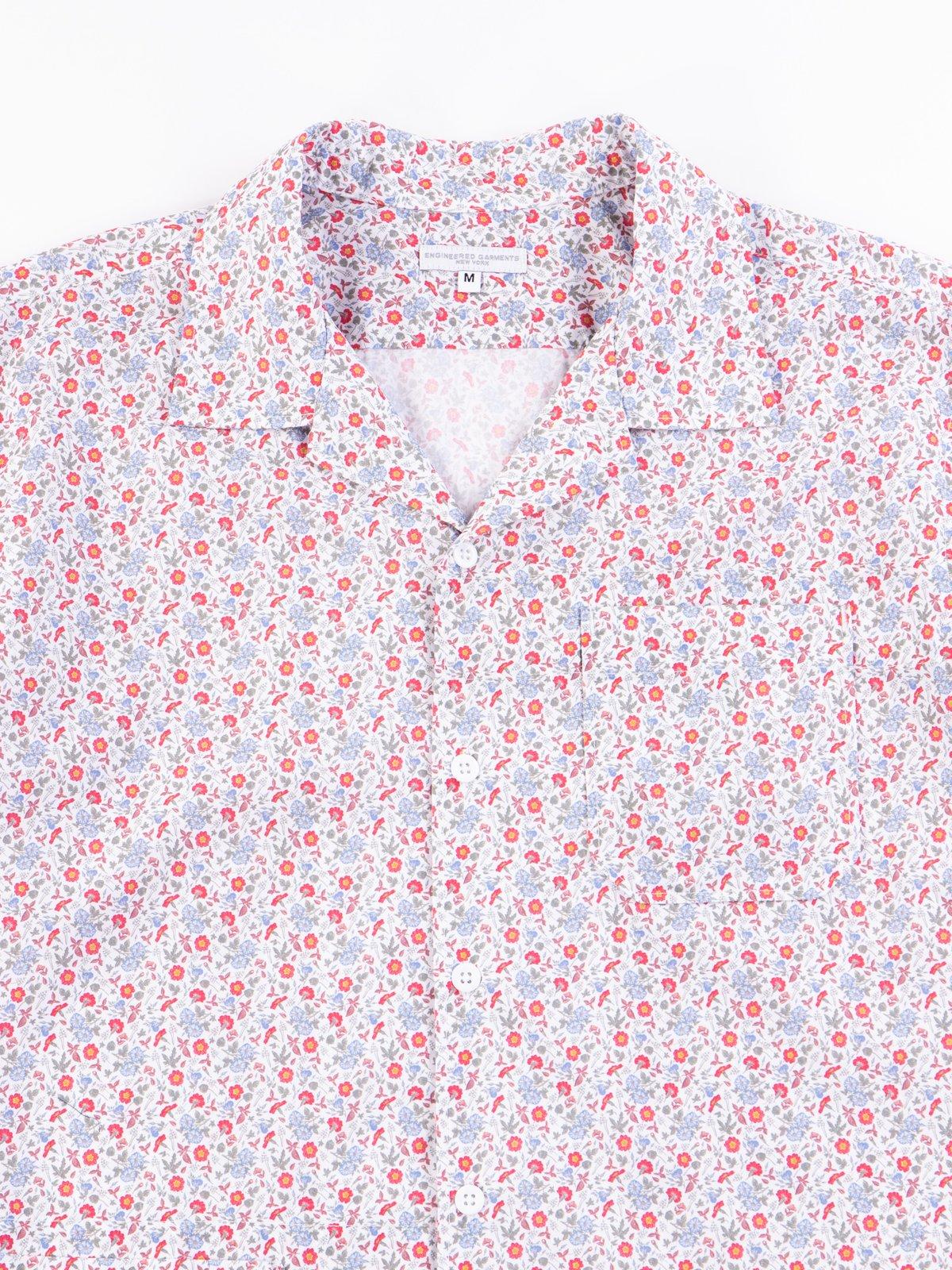 White/Blue/Orange Small Floral Camp Shirt - Image 3