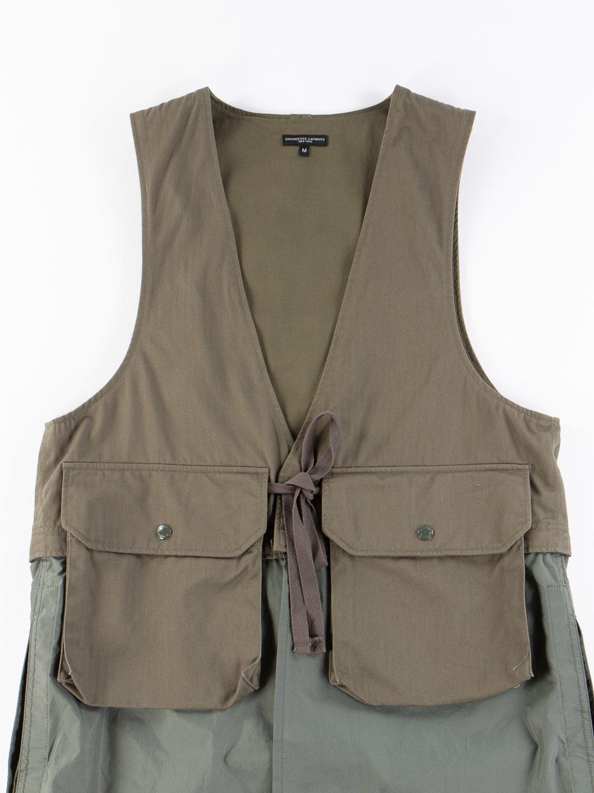 Olive Cotton Herringbone Twill Long Fowl Vest - Image 3