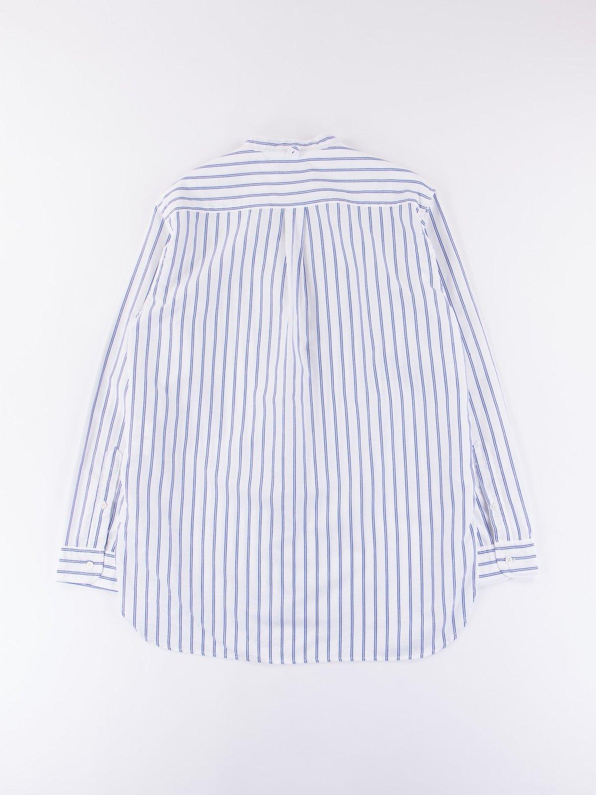 Blue Stripe Banded Collar Shirt - Image 4