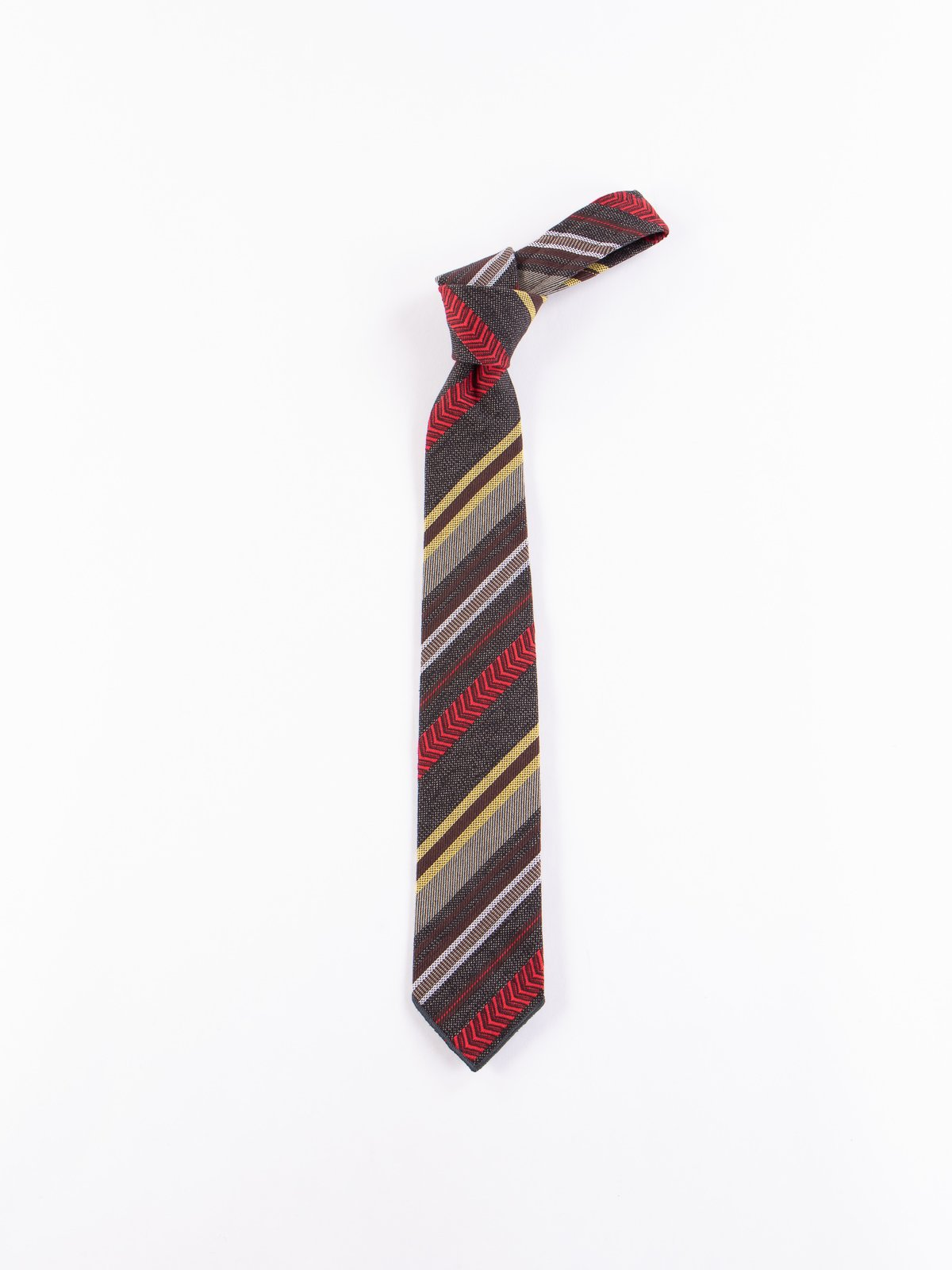 Grey/Yellow/Red Herringbone Dobby Stripe Neck Tie - Image 1