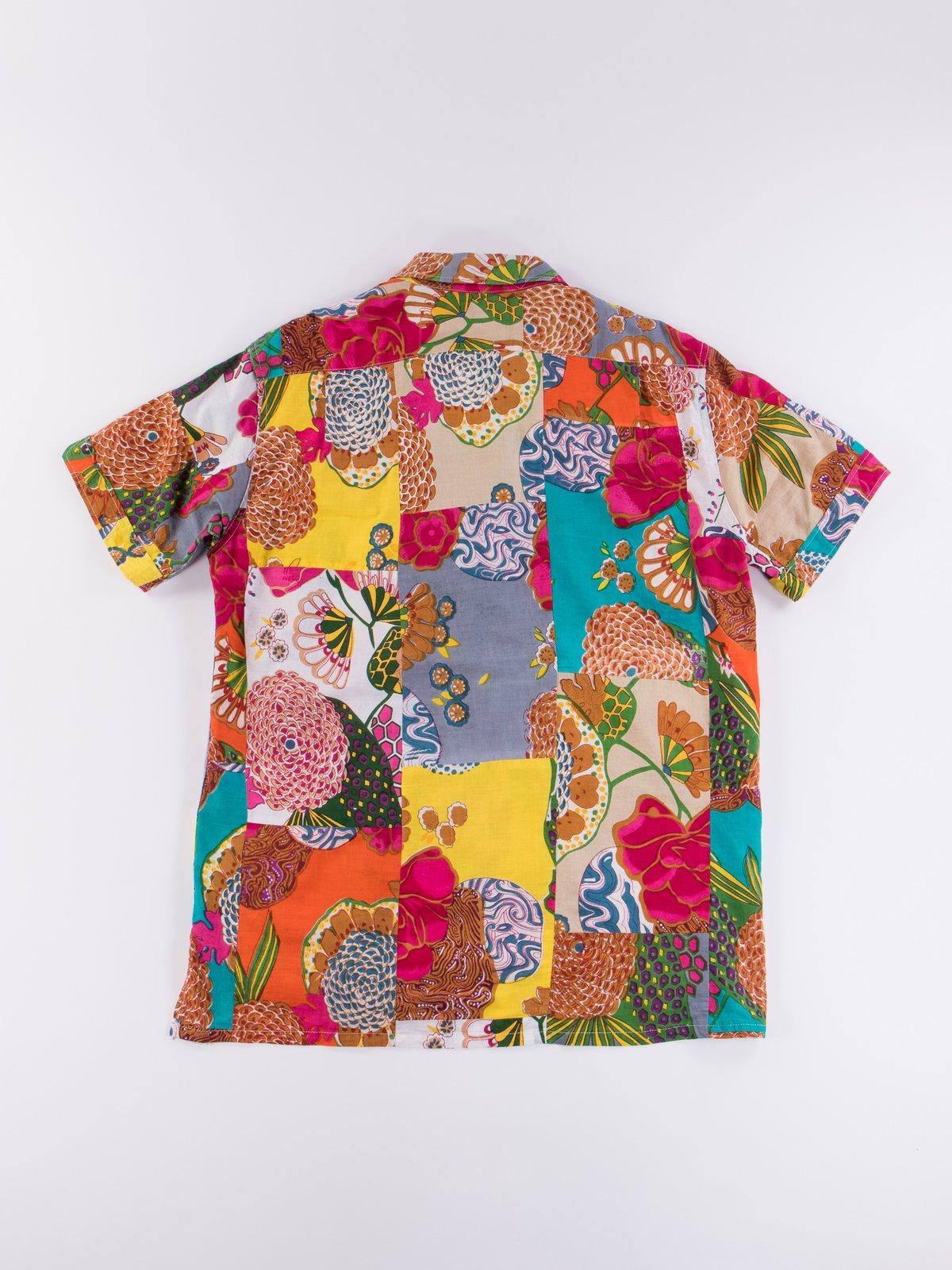 Multi Color Cotton Floral Patchwork Camp Shirt - Image 5