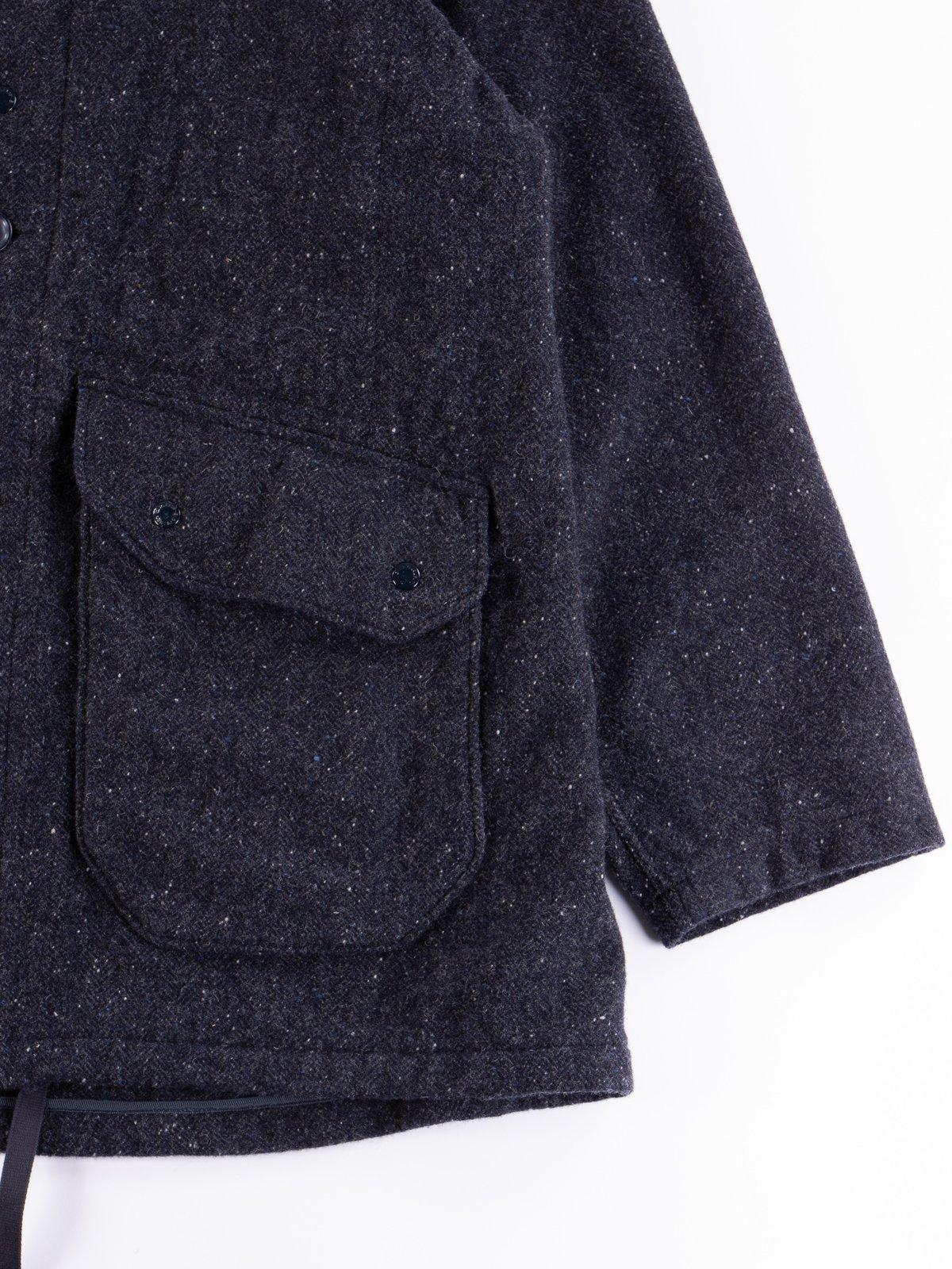 Navy Herringbone Donegal Wool Tweed Madison Parka - Image 5