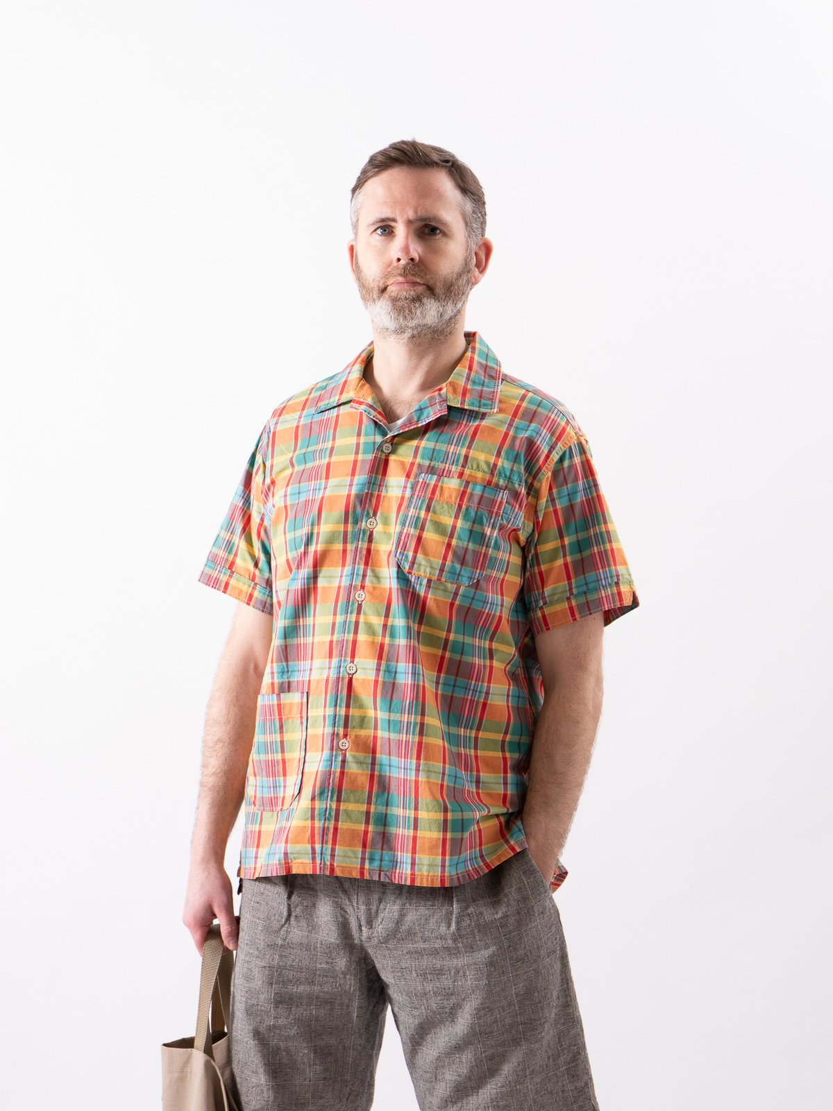 Orange Plaid Cotton Broadcloth Camp Shirt - Image 3