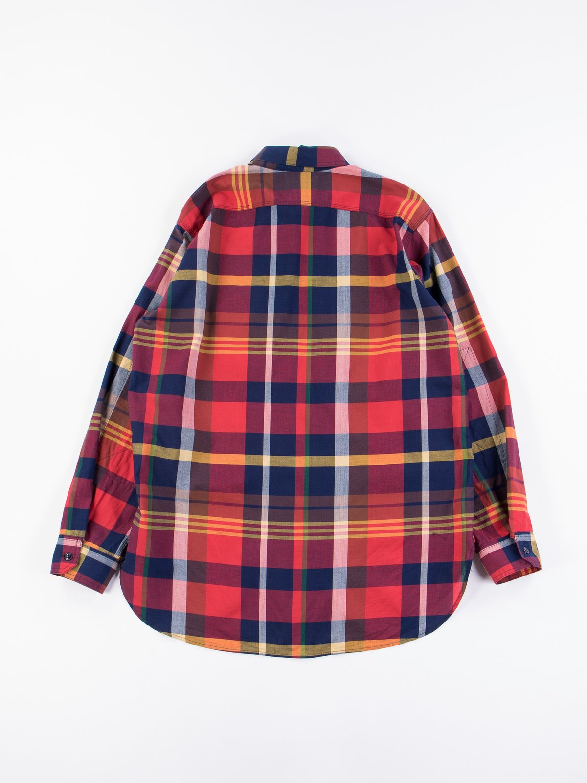 Red/Navy Cotton Big Madras Plaid Work Shirt - Image 5
